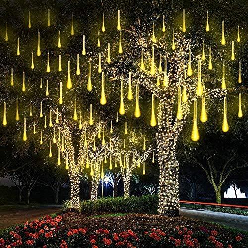 EEIEER Meteorschauer Regen Lichter Eiszapfen Beleuchtung Warmweiss Lichterkette Hängend Wasserdicht für Balkon Weihnachten Außen Dekoration Warmweiß 30cm 8 Tubes 192LED