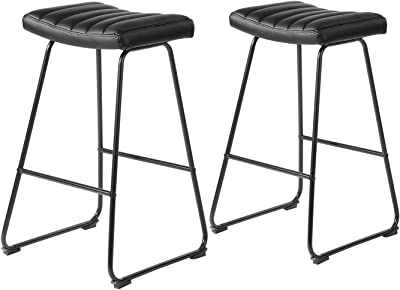 MEUBLE COSY SADDLEBAR Black Lot de 2 Chaise Bar en PU avec Repose-Pieds Tabouret Rembourrée Hauteur avec pîétement en métal, Noir, Daffodil Dolally, 42x38x74,5cm
