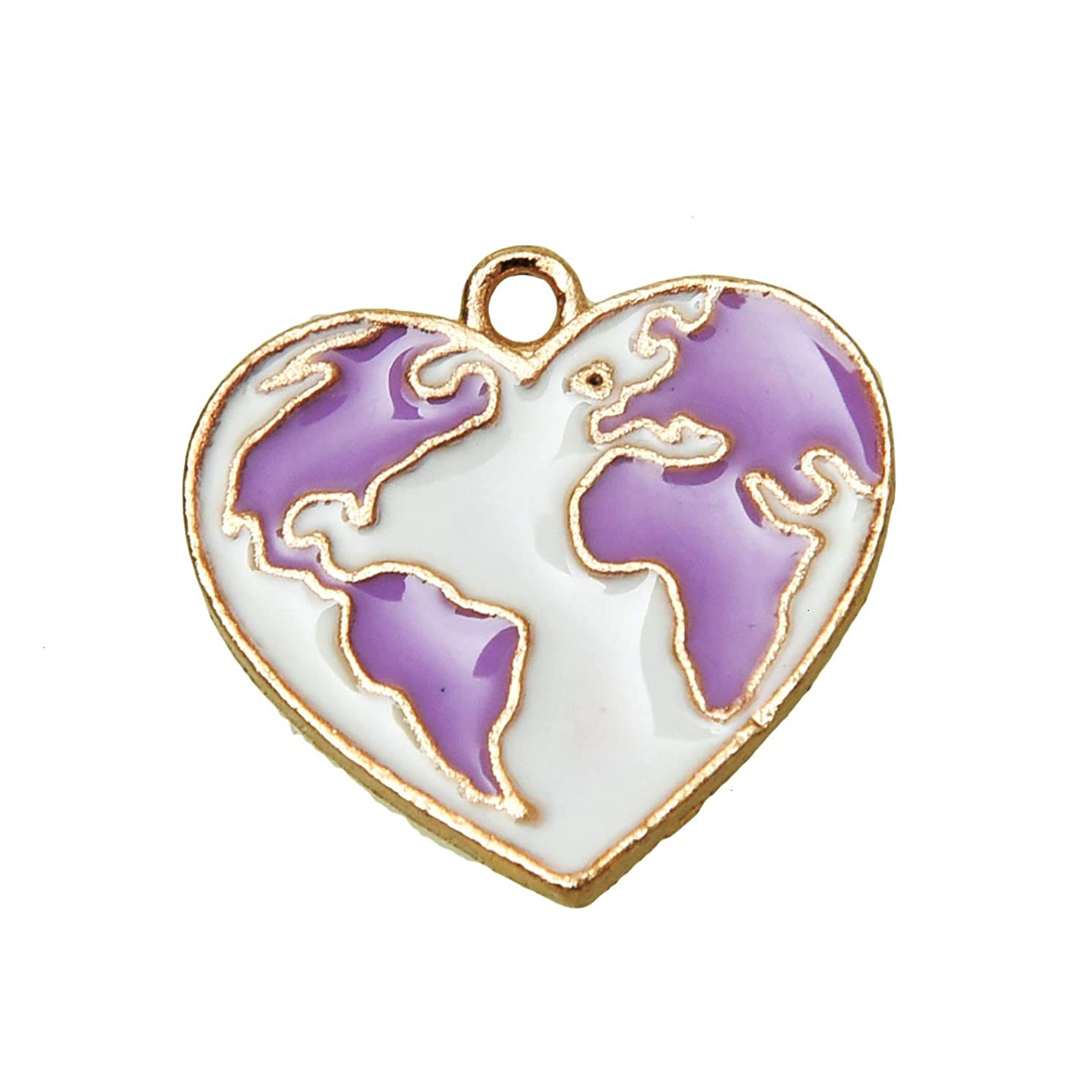 Monrocco 20 Pcs Enamel Heart World Map Charms Pendant for Bracelets Jewelry Making