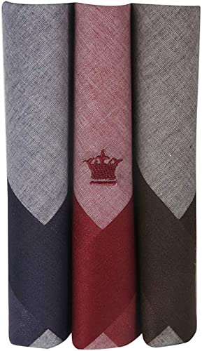 Louis Philippe Men's Cotton Dark Color Handkerchief with brand Logo Pack of 3 (Blue, Maroon and Brown)