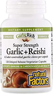 Natural Factors Garlic Rich Super Strength Garlic Reishi - 120 Delayed Release Vegetarian Capsules