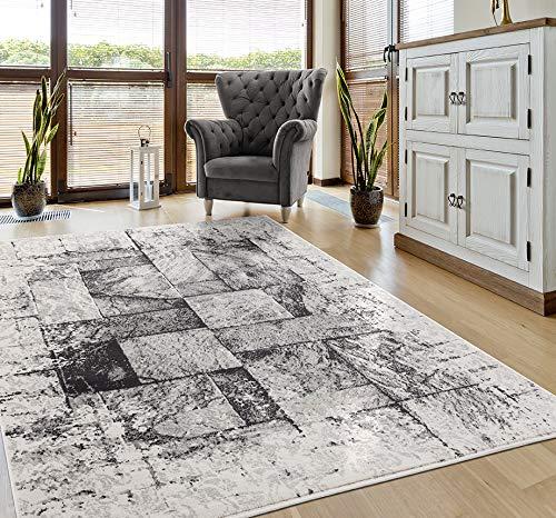 VIMODA Teppich Marmor Used Look Grau, Maße:160x220 cm
