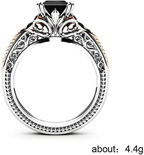 Goddesslili Copper Black Gemstone Rings for Women Girlfriend Vintage Princess Thin Wedding Engagement Anniversary Simple Jewelry Gift Under 5 Dollars