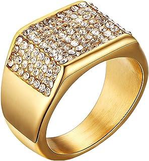 SAINTHERO أربطة زفاف للرجال خمر 316L الفولاذ المقاوم للصدأ الذهب خواتم الخطوبة عالية مصقول الراحة صالح الحجم 7-12