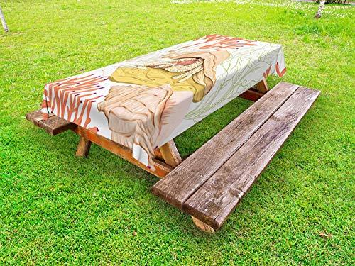 ABAKUHAUS Aquarium Outdoor-Tischdecke, Einsiedlerkrebs mit Shell, dekorative waschbare Picknick-Tischdecke, 145 x 305 cm, Weiß und Multicolor