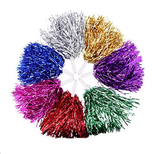 NUOBESTY 14pcs Cheerleader Cheerleading Pom Poms Metallic Foil Pompoms for...