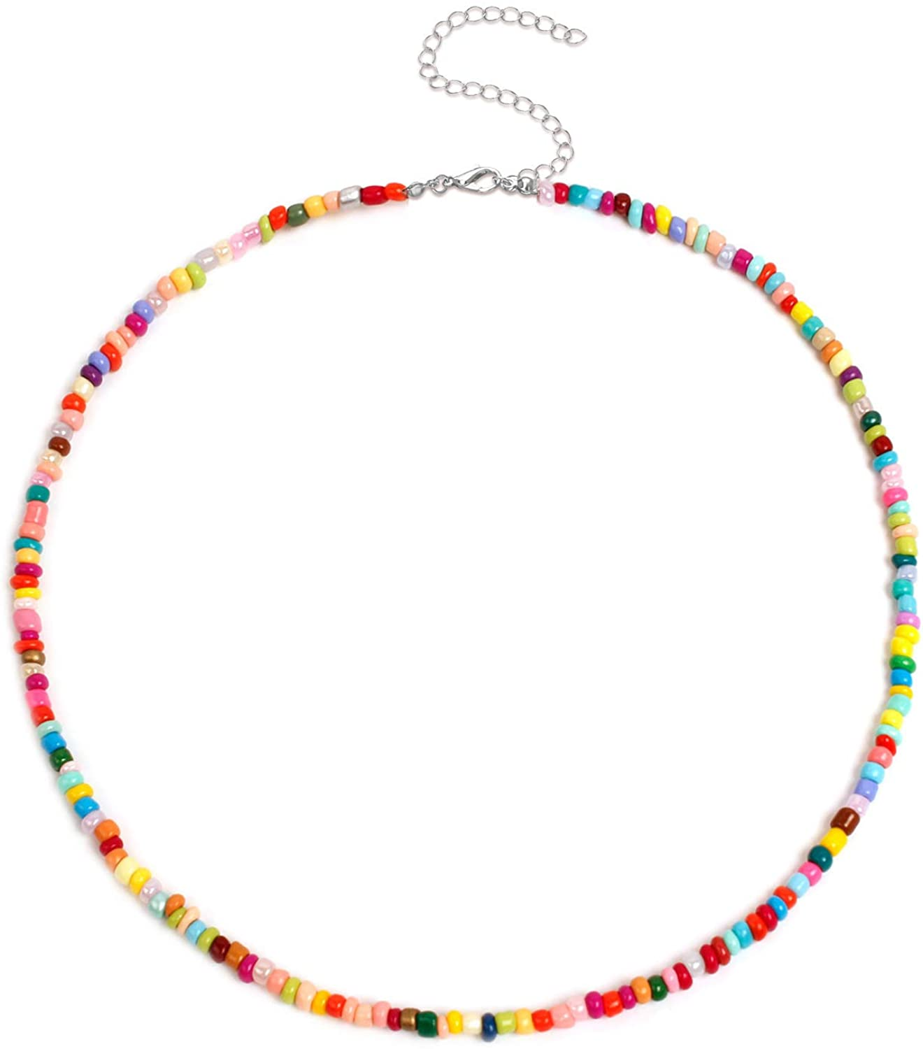 HUJUON Bohemia Colorful Rice Bead Choker Necklace for Women Rainbow Seed Bead Necklaces Seaside Beach Beaded Short Necklace Girl Jewelry