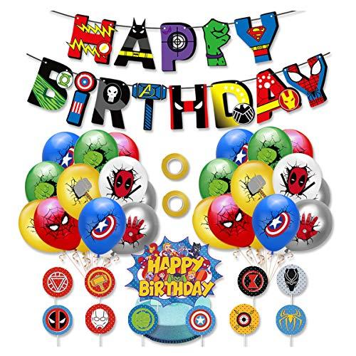 Kit de Decoracion Cumpleaños Superheroes Globos de Superheroes Feliz Cumpleaños del Pancarta Superhéroes Cake Toppers Fiesta Temáticos Superhéroe Suministros