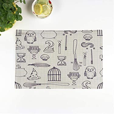 rouihot Set of 4 Placemats Potter Different Witch Equipment Harry Wand Pattern Broom Witchcraft Non-Slip Doily Place Mat for Dining Kitchen Table