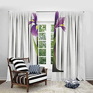 FOEYESEE Curtains for Bedroom Letter I ABC Concept Floral Typography with I Silhouette and Iris Flowers Spring Violet Green Black Cartoon Printed Nursery Room W72 xL84