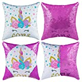 Sequins Throw Pillow Case for Kids Girls Festival Decorative Mermaid Reversible Cushion Cover Home Decor Pillow Cases for Sofa Bed 16'x16'
