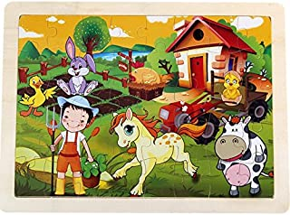 Baby Novelty Toy Educational Wooden Cartoon Puzzle Early Learning Number Shapes Color Animal Toy Fantastic Gifts for Kids(Farm)