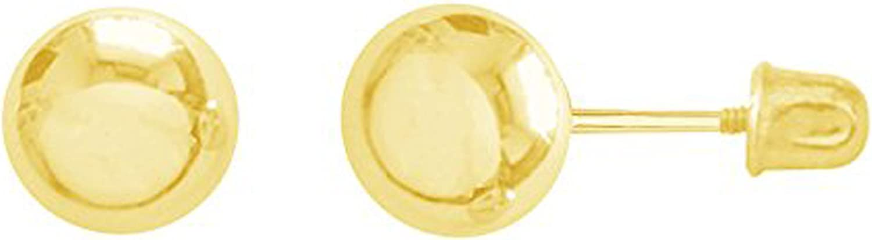 Ritastephens 14k Yellow Gold Ball Stud Post Earrings 3,4,5,6,7mm with Screw Backs