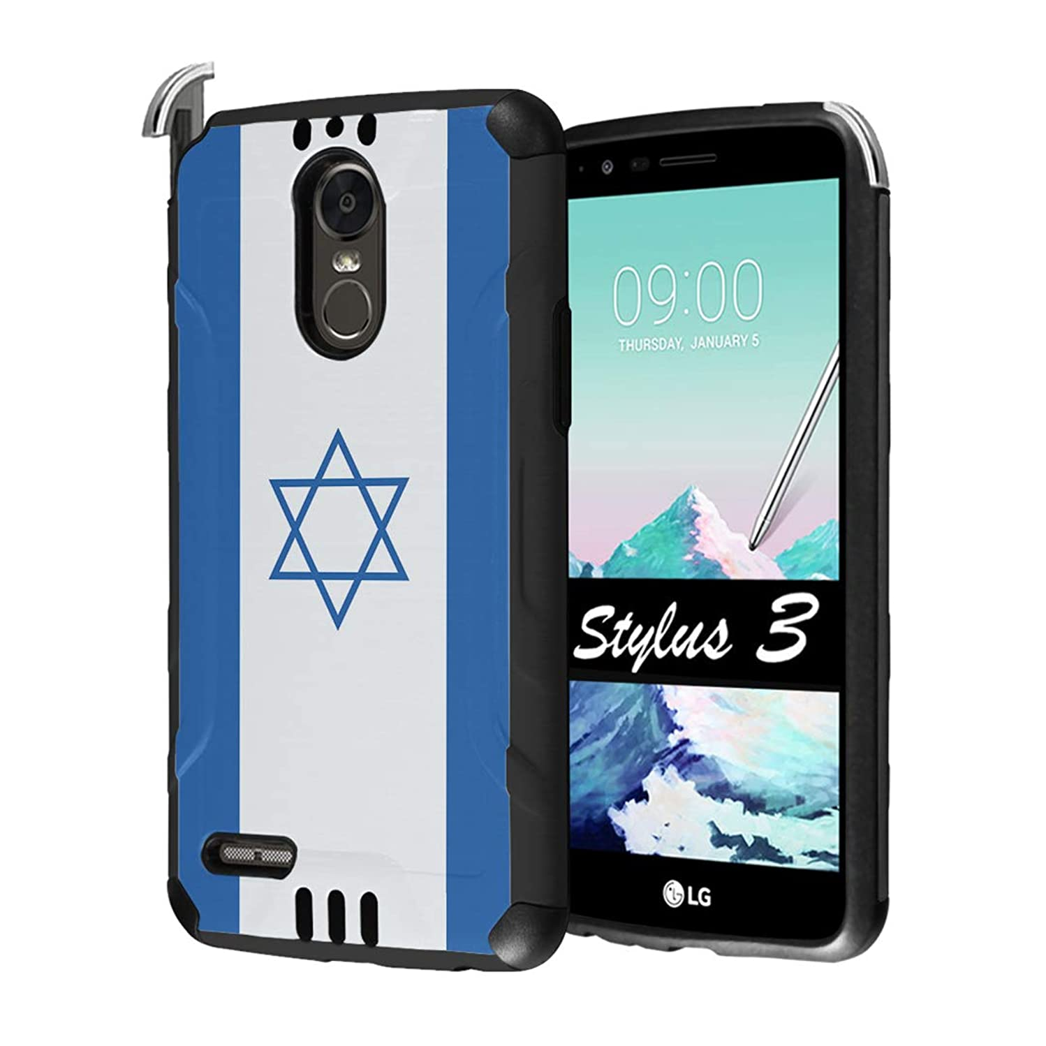 Capsule Case Compatible with LG Stylo 3, LG Stylo 3 Plus [Hybrid Dual Layer Supports Qi Wireless Charging Slim Defender Armor Combat Case Black] for LG Stylus 3 - (Israel Flag)
