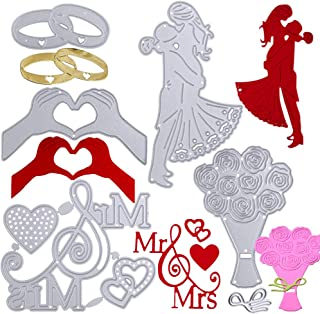 None brand 5pcs Matrice de découpe Mariage Dies Scrapbooking Pochoirs de gaufrage Forme Amoureux Couple Bague Décoration P...
