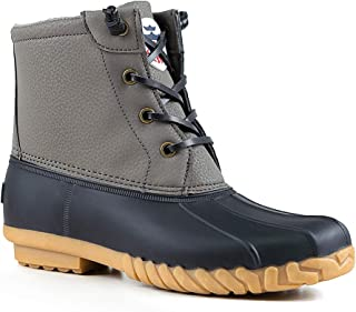 Women's Duck Boots Lace Up Waterproof Ankle Rain Boots Flat Winter