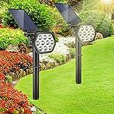【Nuevo】Luces Solares Exterior GolWof 2 Piezas Foco Solar LED Impermeable Luz Solar Lámpara Solar con 2 Modos de Iluminación, Ángulo Ajustable 180° Luz de Paisaje para Jardín Césped Terraza Garaje