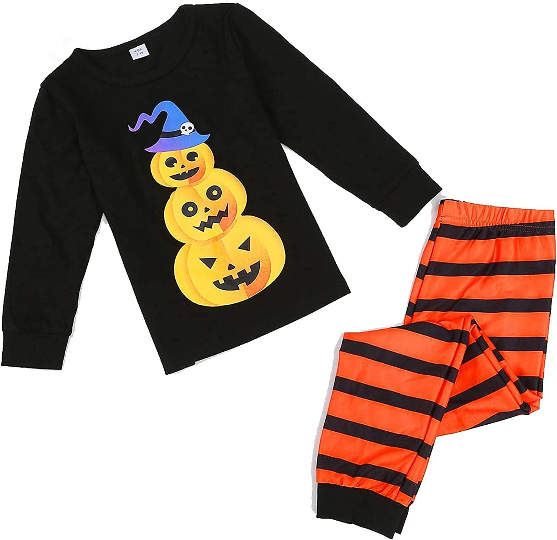 Halloween Family Matching Outfits Pajamas Long Sleeve Pants Cute Pumpkin Print Casual Comfy Sleepwear Loungewear