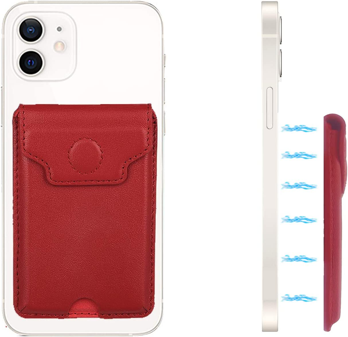 Luxury 12 pro max magsafe Wallet Card Holder for Back of Phone Leather mag Safe Wallet Phone Magnet Wallet Stick on Magnetic Compatible with iPhone 12/12 Pro/12 Pro MAX(Red)