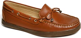 Driver Club USA Women's Leather Made in Brazil Boat Shoe with Tiebow Detail, tan Grainy/Natural Sole, 5 M US