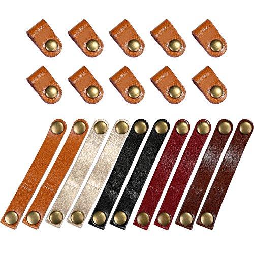 Bememo 20 Stücke Leder Kabelbinder Kabel Organizer Kabel Management Kopfhörer Wrap Winder für USB Kabel Kopfhörer Draht, 2 Größen