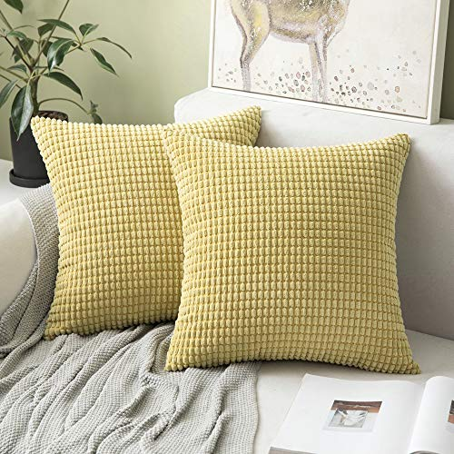 MIULEE Set of 2 Corduroy Soft Big Corn Solid Decorative Square Throw Pillow Covers Cushion Case For Sofa Bedroom 40 x 40 cm 16 x 16 Inch Granule Yellow
