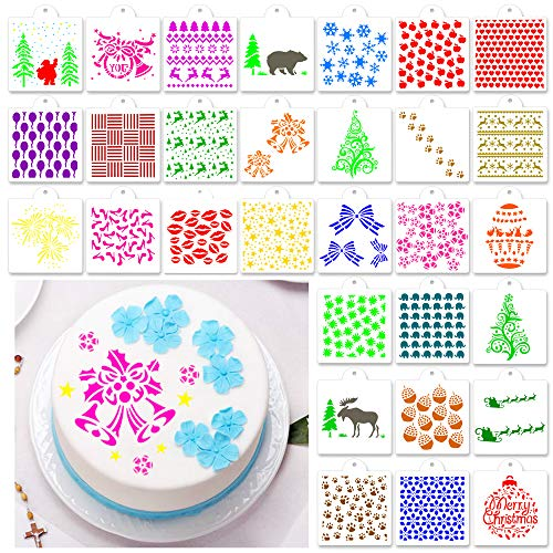 PROLOSO 30 Pcs Cake Stencil Baking Templates Set Bread Stencils for Cookies Decorating for DIY Craft Wedding Scrapbooking Molds