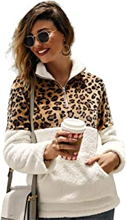 Ti caring Womens Casual Long Sleeve Coat Fashion Leopard Patchwork Turtleneck Fleece Warm Outerwear
