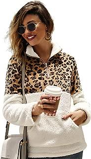 Ti caring Womens Casual Long Sleeve Coat Fashion Leopard Patchwork Turtleneck Fleece Warm Outerwear