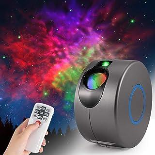 Proyector de cielo estrellado de galaxia LED, lámpara de proyector de luz de estrellas 3D con control remoto, rotación de 360 ° / 7 colores/luz nocturna con efecto aurora fiesta