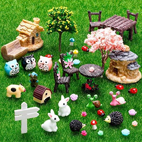 64 Stücke Miniatur Fee Garten Zubehör Mini Tiere Miniatur Ornament Kit Tier Figuren Tiere Miniatur Mikro Landschaft Zubehör für Puppen Haus Dekoration Pflanze Haus Dekor