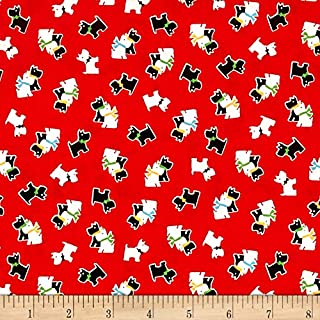 Marcus Brothers Aunt Grace Scotties Red Fabric by The Yard
