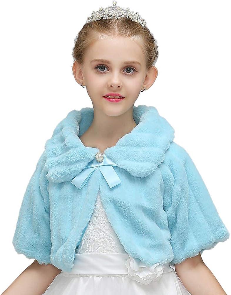 LeJulyeekay Girl's Faux fur Bolero Long Sleeve Jacket Coat Winter Shawl Capelet