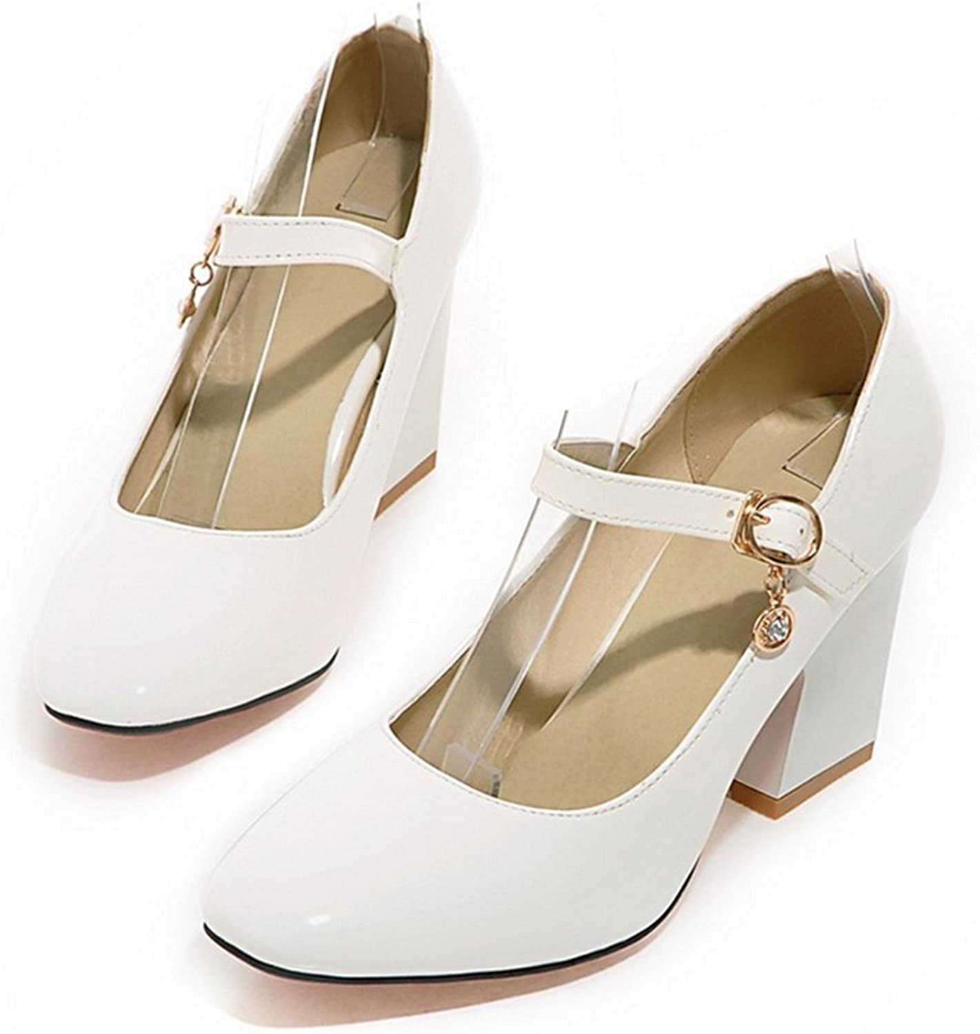 Small Square Last Heel Low-cut Buckle W ork shoes Plus Size white 39