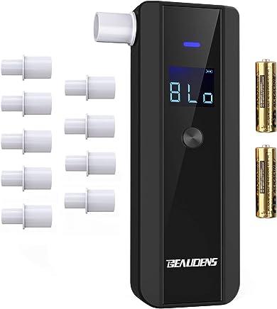 【最新版】Beaudens アルコールチェッカー 単3電池付き 飲酒運転防止 高精度半導体センサー 5秒瞬間測定 吹き込み口10個付き 4つ単位切り替え LCDスクリーン 息吹き式 飲酒検知器 二年保証