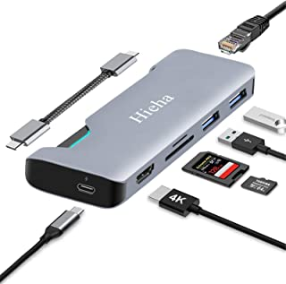 Hieha USB Type C ハブ 7-in-1 USB C ハブ USB LAN HUB PD 4K HDMI高画質対応 MacBook Pro Air 変換アダプタ PD充電 iPad Pro Dell XPS Surface Go H...