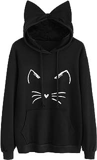 TECREW Women`s Long Sleeve Cat Hoodies Cat Ear Pullover Hooded Sweatshirt with Kangaroo Pocket