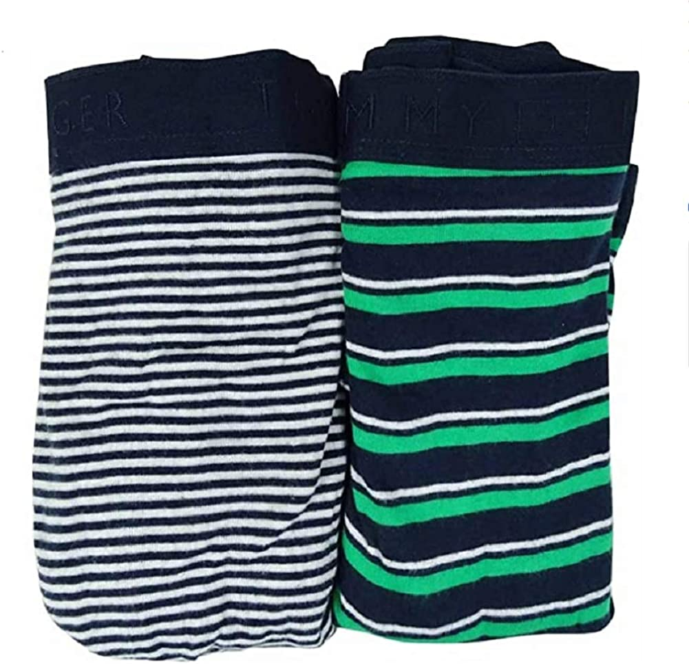 Tommy Hilfiger Men's Striped Boxer Briefs (2 Pack) (XL, Aloe/Oyster)