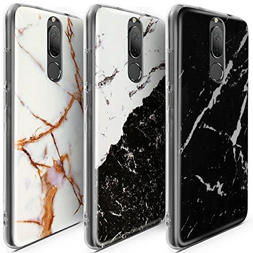 CLM-Tech 3 x Custodia per Huawei Mate 10 Lite, Cover Silicone Gel Gomma, 3er Set TPU Case, Marmo Nero Bianco Oro Multicolore