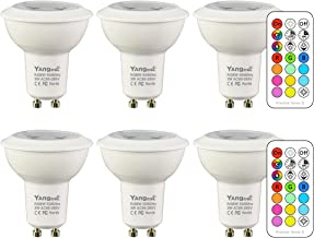 Yangcsl GU10 LED Bulbs, Color Changing Spot Light Bulb with Remote, RGB + Warm White, 45° Beam Angle and Memory, 3W Mood Ambiance Lighting (6 Pack)