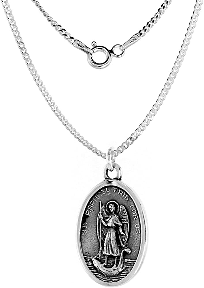 Sterling Silver St Raphael and Our Long-awaited Loreto Medal Lady 4 years warranty Necklace of
