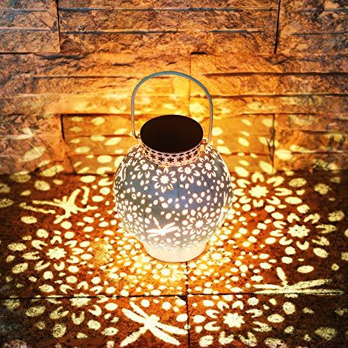 KOOPER LED Solar laterne für Außen, Vintage Metall Solarlampen für Außen Warmweiß, IP65 Wasserdicht Dekorative Hängend Garten Solarleuchten für Weihnachten Veranda Rasen Hof Auffahrt