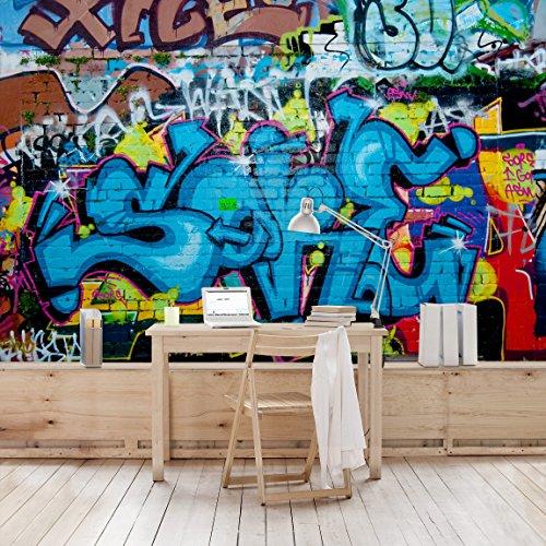 Apalis Kindertapeten Vliestapeten Colours of Graffiti Fototapete Breit | Vlies Tapete Wandtapete Wandbild Foto 3D Fototapete für Schlafzimmer Wohnzimmer Küche | blau, 94897