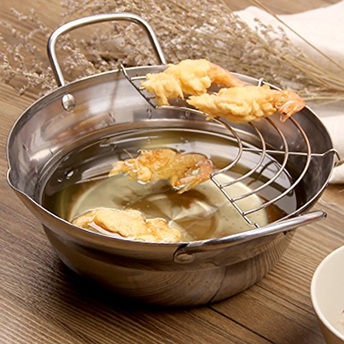 Stainless steel Tempura Fryer Pot, Mini Deep Fry Pan with Drainer, 8 Inch (20 cm)