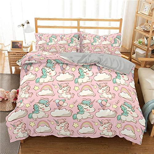 QDoodePoyerBiancheria da letto - Rosa unicorno arcobaleno nuvole set di biancheria da letto set da 3 pezzi copripiumino con chiusura lampo in microfibra 135x200cm 2 federe 65 x 65 cm