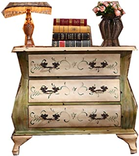 Armoire à tiroirs Armoire à tiroirs Armoire à Console Meubles américains en Bois Massif Ancien Peint Trois (Couleur: Jaune...