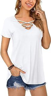 Amoretu Women Short/Long Sleeve Criss Cross V Neck Shirts Tops
