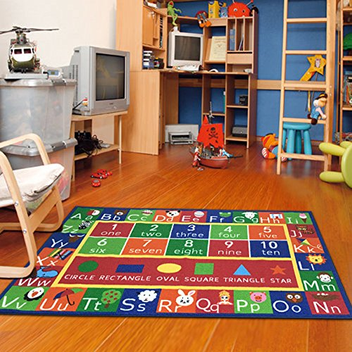Kids Rug ABC Alphabet Numbers and Shapes Educational Area Rug Area Rug Non Skid Backing by Furnishmyplace 3'3