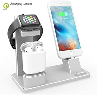 Fast Wireless Charger 3 in 1 Stand, Wireless Induction Charging Dock for Apple Watch 4/3/2/1, iPhone XS/XS Max/XR/X / 8/8 Plus, AirPods Series Prodect,Silver