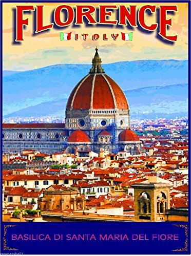 Florence Italy Basilica di Santa Maria del Fiore Travel Advertisement Wall Decor Collectible Poster Print. Measures 10 x 13.5 inches